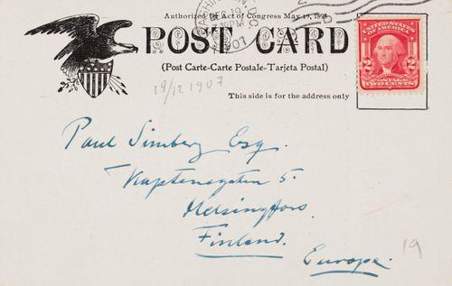 Hugo Simbergin kirje Paul Simbergille 19.12.1907