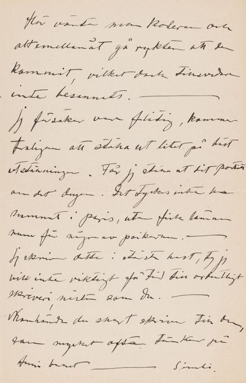 Hugo Simbergin kirje Anni Simbergille 18.9.1908