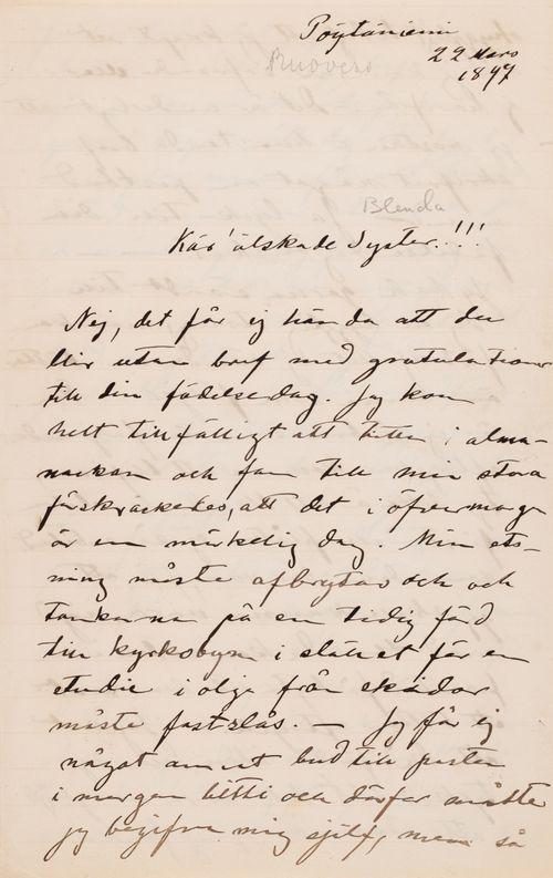 Hugo Simbergin kirje Blenda Simbergille 22.3.1897