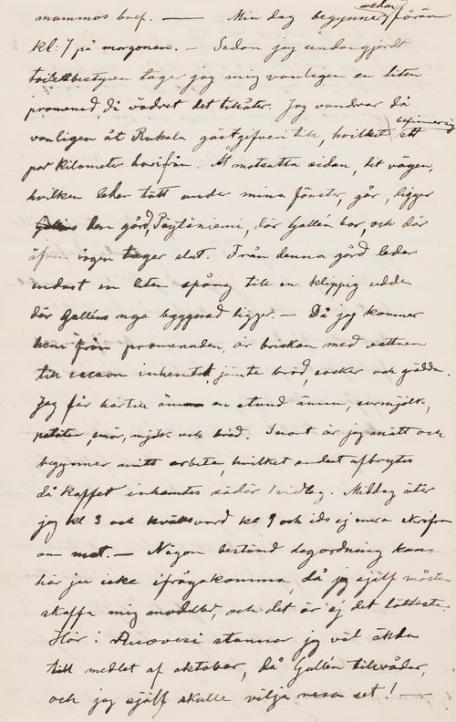 Hugo Simbergin kirje Ebba Mathilda Simbergille 7.9.1895