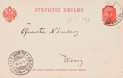 Hugo Simbergin kirje Niclas Eduard Simbergille 3.4.1901