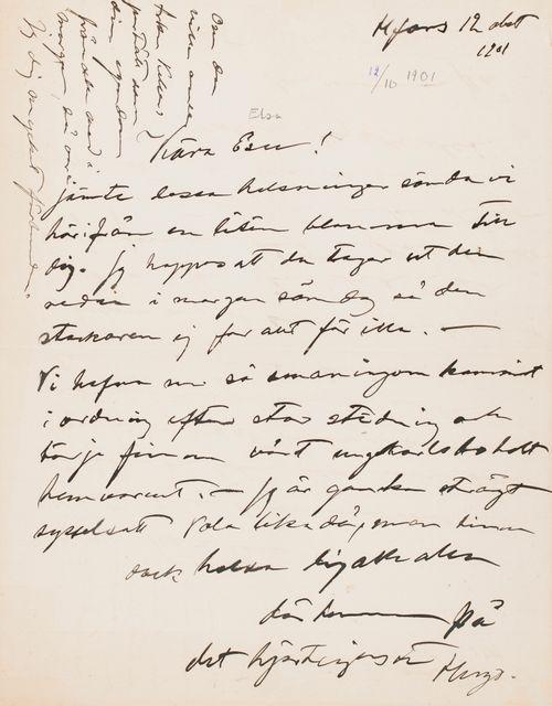 Hugo Simbergin kirje Elsa Simbergille 12.10.1901