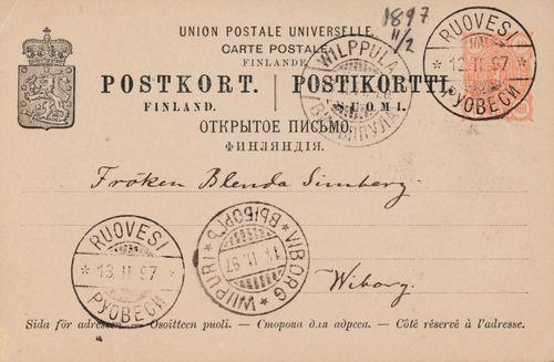 Hugo Simberg's letter to Blenda Simberg 11.2.1897