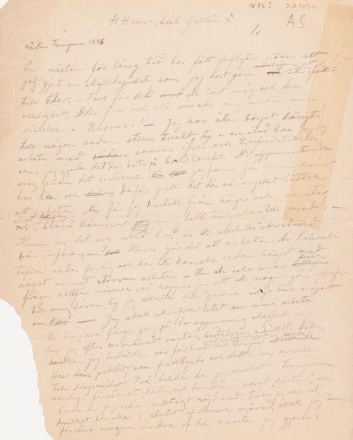 Hugo Simbergin kirje Akseli Gallen-Kallelalle 3.2.1896