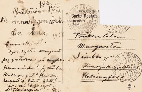 Hugo Simbergin kirje Elsa Simbergille 18.7.1908