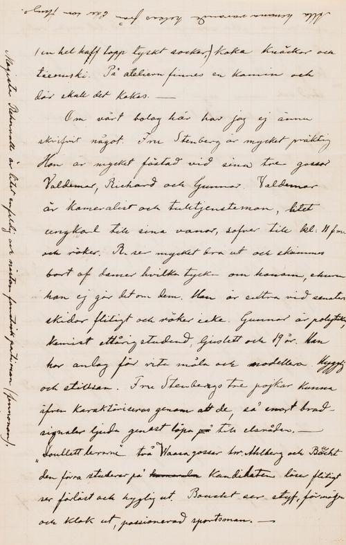 Hugo Simbergin kirje Ebba Mathilda Simbergille 13.3.1895