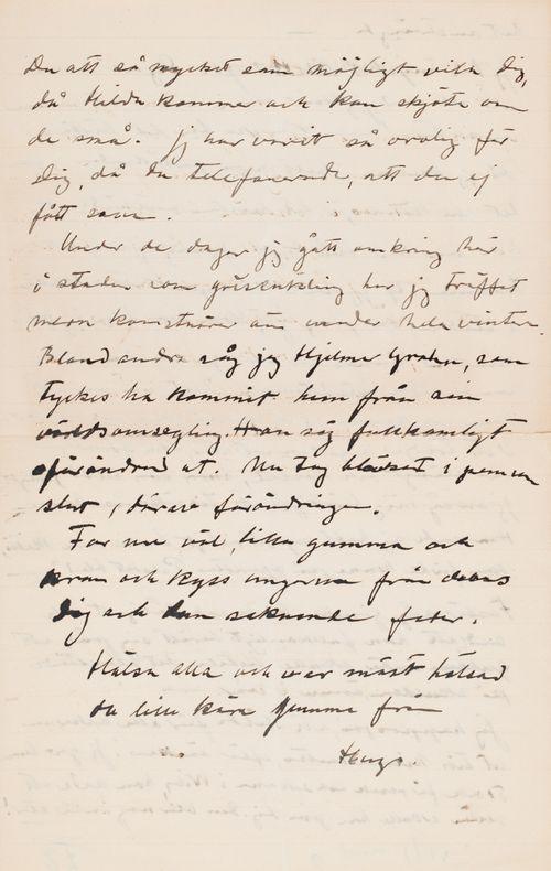 Hugo Simbergin kirje Anni Simbergille 6.6.1915