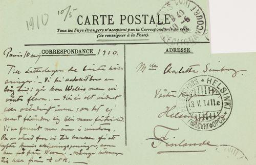 Hugo Simbergin kirje Blenda Simbergille 10.5.1910