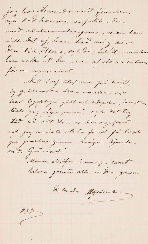 Hugo Simbergin kirje Paul Simbergille 12.8.1893