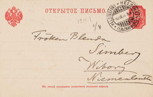 Hugo Simbergin kirje Blenda Simbergille 6.8.1901