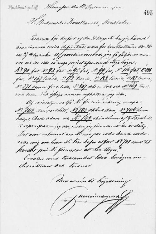 Paul Sinebrychoffin kirje H. Bukowskin Taidekaupalle 12.9.1900
