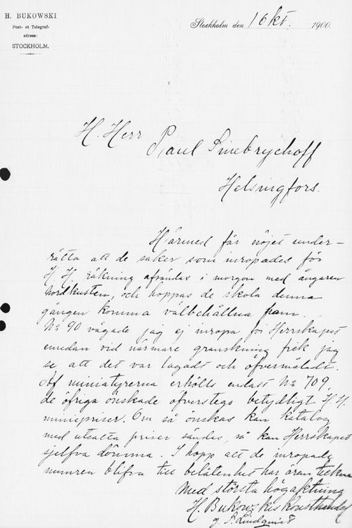 Sigrid Lindqvistin kirje Paul Sinebrychoffille 1.10.1900