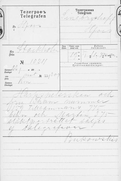 H. Bukowskin Taidekaupan sähke Paul Sinebrychoffille 5.7.1901