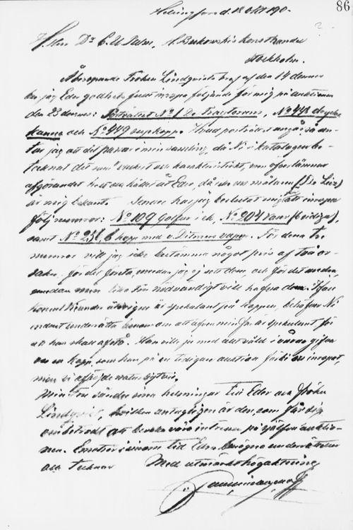 Paul Sinebrychoffin kirje Carl Ulric Palmille 18.10.1901
