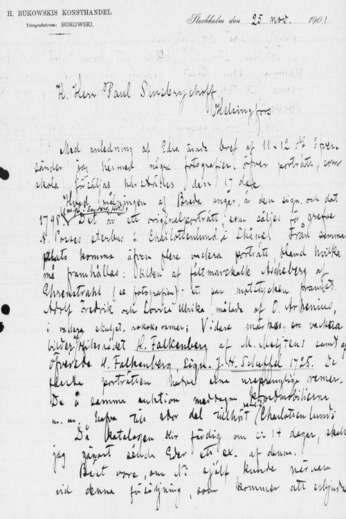 Carl Ulrik Palmin kirje Paul Sinebrychoffille 25.11.1901