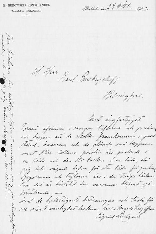 Sigrid Lindqvistin kirje Paul Sinebrychoffille 24.10.1902