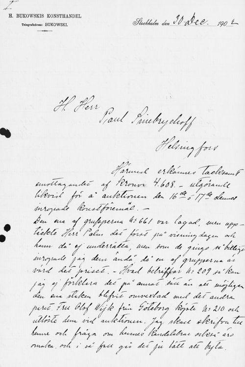 Sigrid Lindqvistin kirje Paul Sinebrychoffille 30.12.1902
