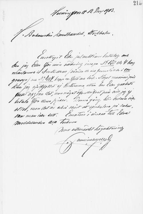 Paul Sinebrychoffin kirje H. Bukowskin Taidekaupalle 12.12.1903
