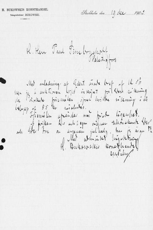 Carl Ulrik Palmin kirje Paul Sinebrychoffille 19.12.1903