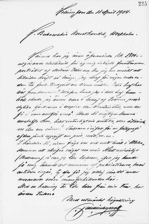 Paul Sinebrychoffin kirje H. Bukowskin Taidekaupalle 11.4.1904