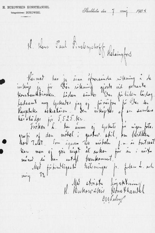 Carl Ulrik Palmin kirje Paul Sinebrychoffille 7.5.1904