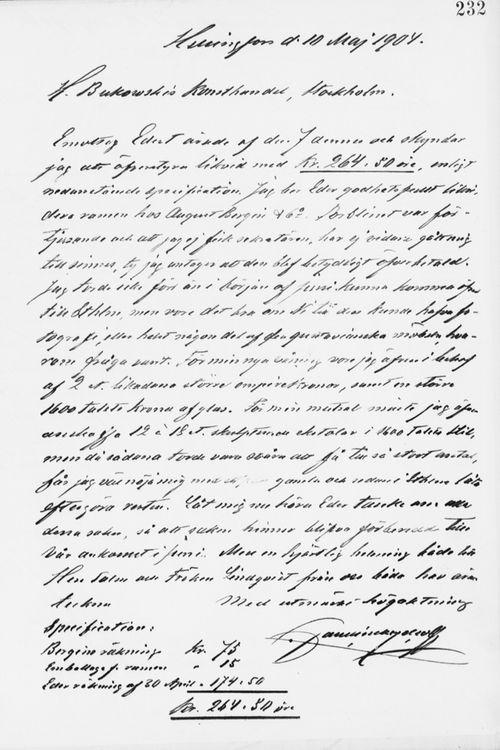 Paul Sinebrychoffin kirje H. Bukowskin Taidekaupalle 10.5.1904