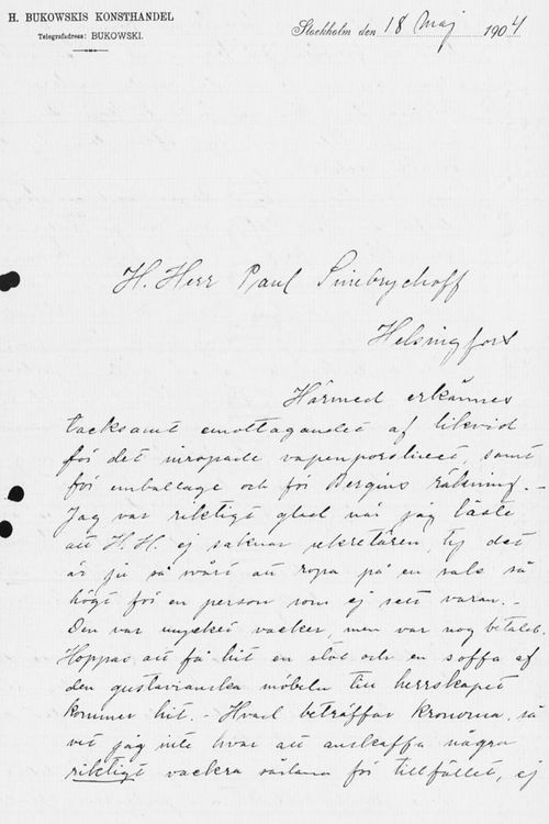 Sigrid Lindqvistin kirje Paul Sinebrychoffille 18.5.1904