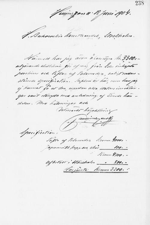 Paul Sinebrychoffin kirje H. Bukowskin Taidekaupalle 18.6.1904