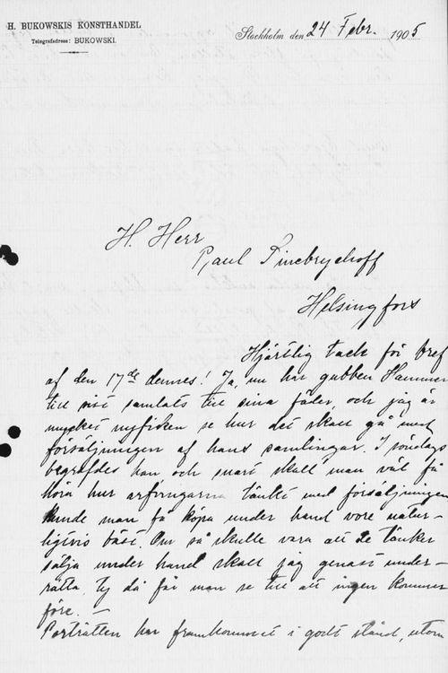 Sigrid Lindqvistin kirje Paul Sinebrychoffille 24.2.1905