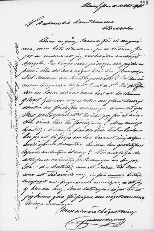 Paul Sinebrychoffin kirje H. Bukowskin taidekaupalle 11.10.1905