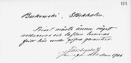 Paul Sinebrychoffin sähke H. Bukowskin taidekaupalle 20.3.1906