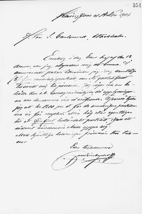 Paul Sinebrychoffin kirje Sigrid Lindqvistille 14.11.1906