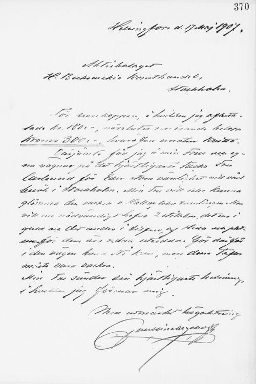 Paul Sinebrychoffin kirje H. Bukowskin taidekaupalle 17.5.1907