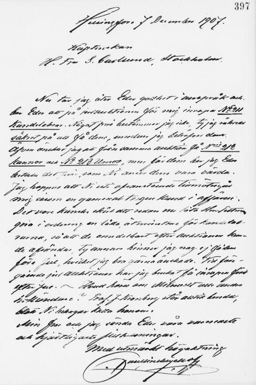 Paul Sinebrychoffin kirje Sigrid Lindqvistille 7.12.1907