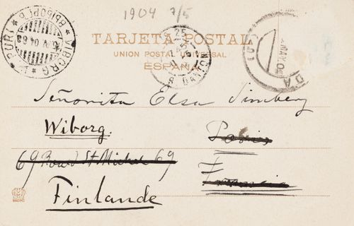 Hugo Simbergin kirje Elsa Simbergille 7.5.1904