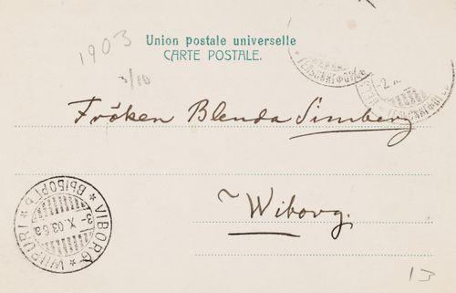Hugo Simbergin kirje Blenda Simbergille 2.10.1903
