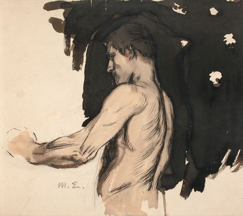 Harjoitelma, alaston miehen puolivartalokuva