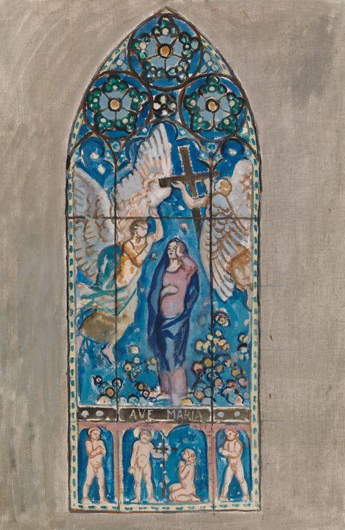Ave Maria, luonnos Porin kirkon lasimaalausta varten
