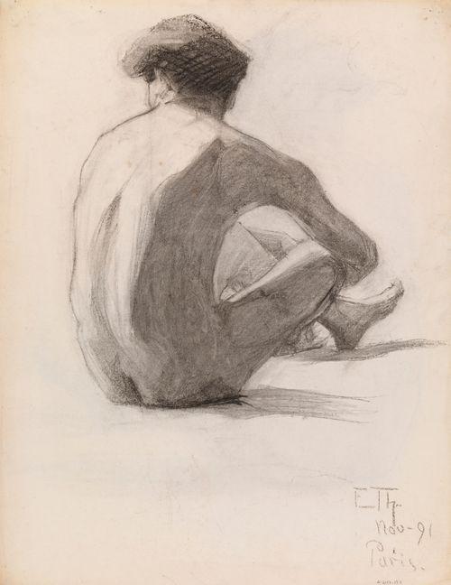 Istuva alaston mies, malliharjoitelma