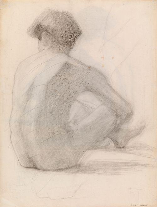 Istuva alaston mies, malliharjoitelma (yliviivattu)