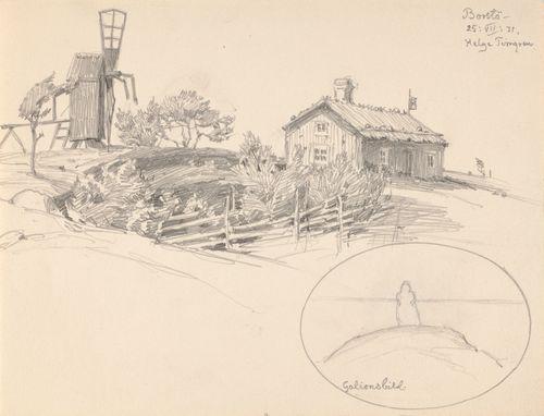 Mökki ja vanha tuulimylly, Borstö