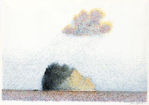 Saari lipuu impressionistisen pilven varjosta