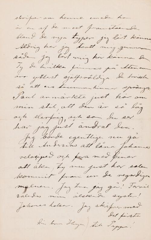 Hugo Simbergin kirje Blenda Simbergille kevät 1892