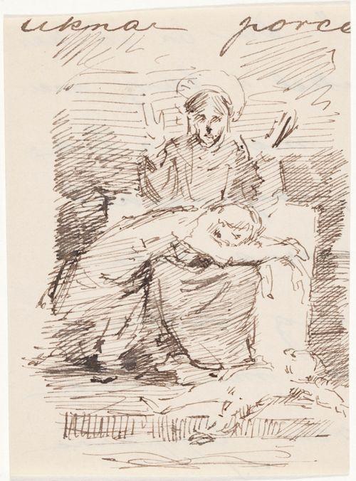 Kristus ja sureva nainen, piirustus näyttelyssä olleesta maalauksesta