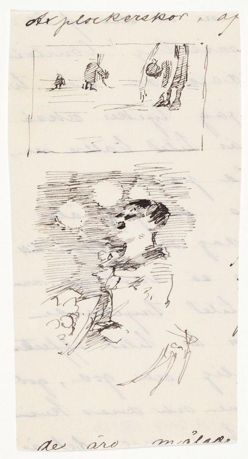 Piirustus Millet'n Tähkänpoimijoista ja Degas'n näyttelijätär-aiheesta