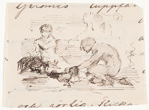 "Piirustus Jean-Léon Gérômen maalauksesta Kukkotappelu, ""Un combat des coqs"""