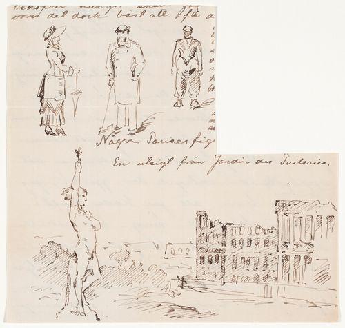 Pariisilaistyyppejä ja näkymä Tuileries'n puistosta