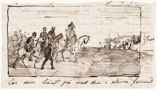 Piirustus mahdollisesti Alphonse-Marie-Adolphe de Neuvillen maalauksen pohjalta