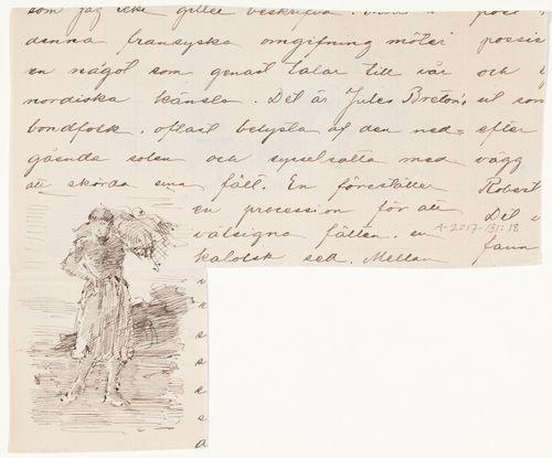 Piirustus Jules Bretonin heinänkorjaajanaista esittävästä maalauksesta