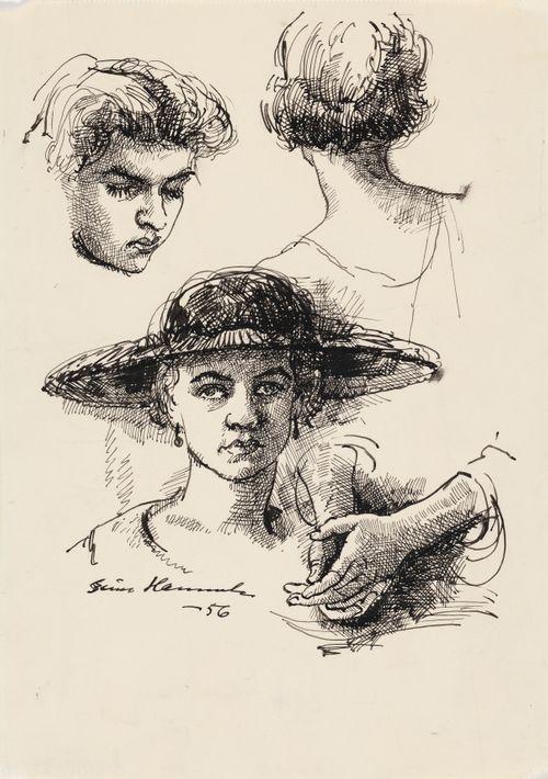 Naisen pää ja kädet, neljä harjoitelmaa